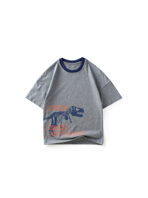 【4Y-13Y】Boys Dinosaur Print Short Sleeve T-Shirt