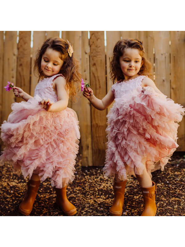 【2Y-9Y】Round Neck Lace Sleeveless Tiered Dress - 3381