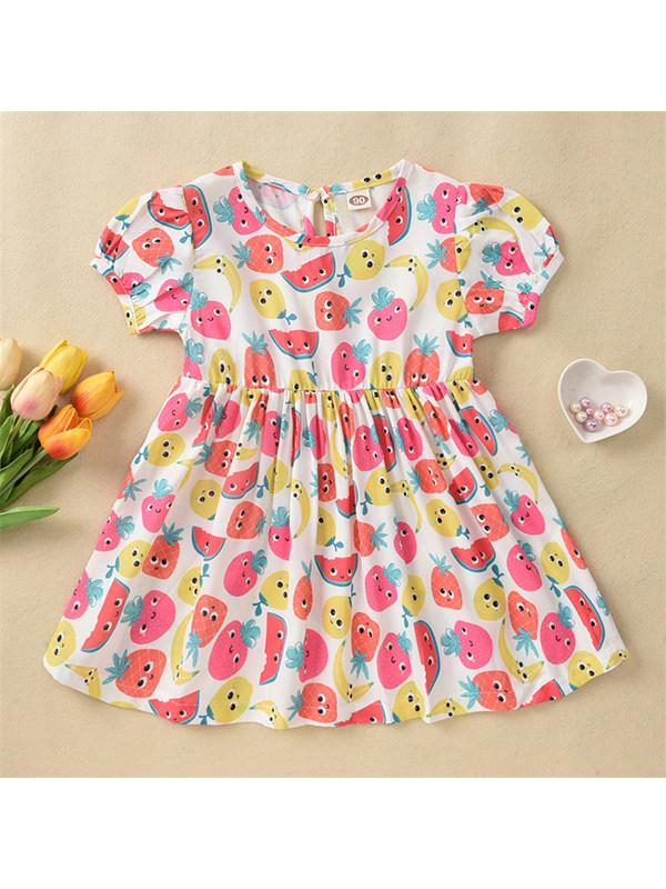 【18M-7Y】Girls Bubble Short Sleeve Cartoon Fruit Print Dress