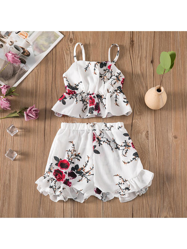 【18M-7Y】Girls Shoulders Floral Print Suspenders With Shorts Suit