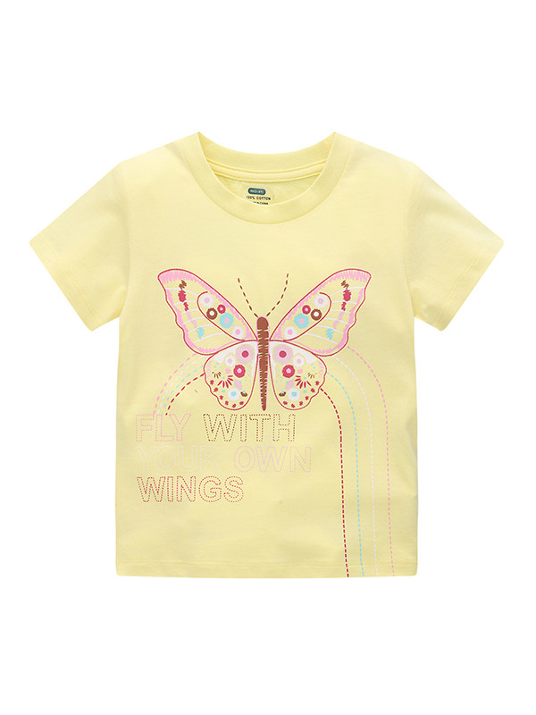 【12M-7Y】Girls Cartoon Yellow Cute Printed Embroidered Short Sleeve Top
