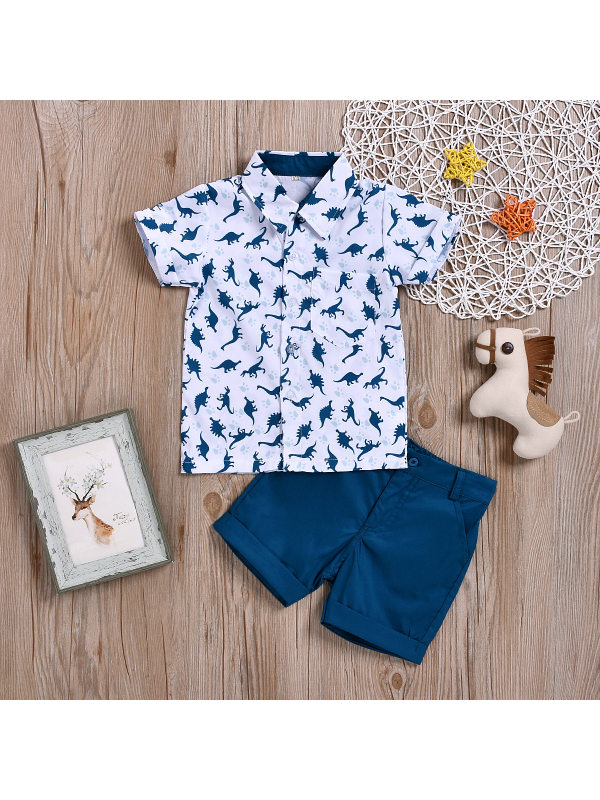 【18M-7Y】Boys Dinosaur Print Short-sleeved Shorts Two-piece Suit