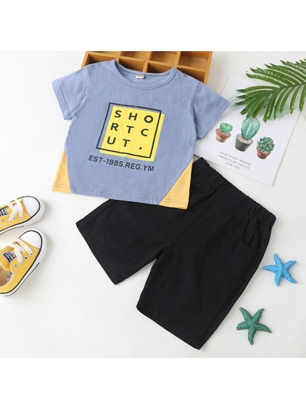 【18M-7Y】Boys Short-sleeved Top Shorts Two-piece Set