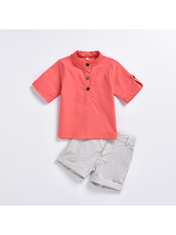 【18M-7Y】Boys Short-sleeved Stand-collar Shirt Shorts Two-piece Suit