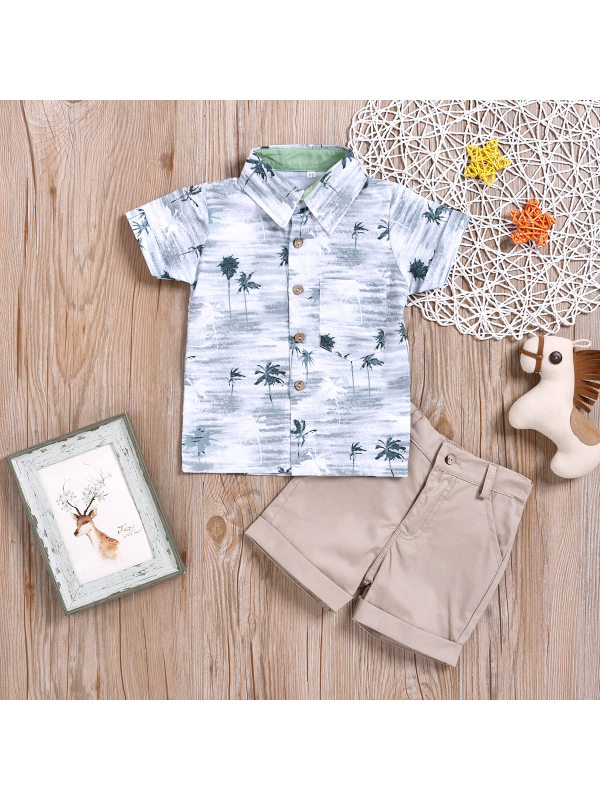 【18M-7Y】Boys Coconut Print Short-sleeved Shirt Shorts Two-piece Suit