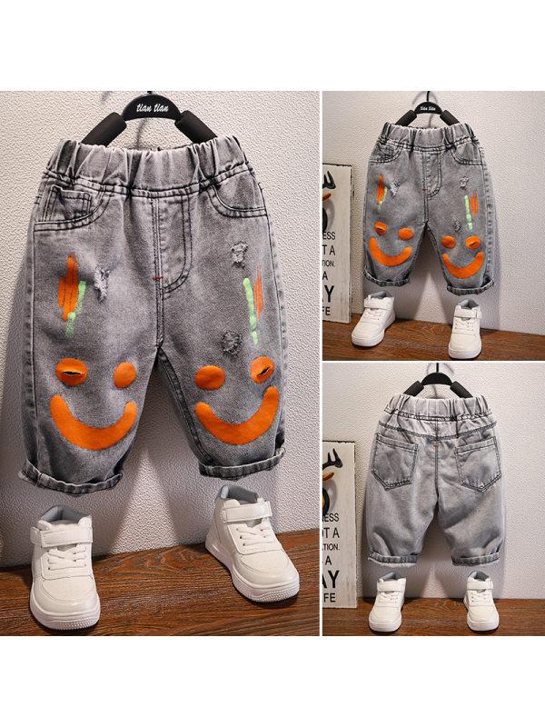 【18M-9Y】Boys Denim Cartoon Print Cropped Trousers