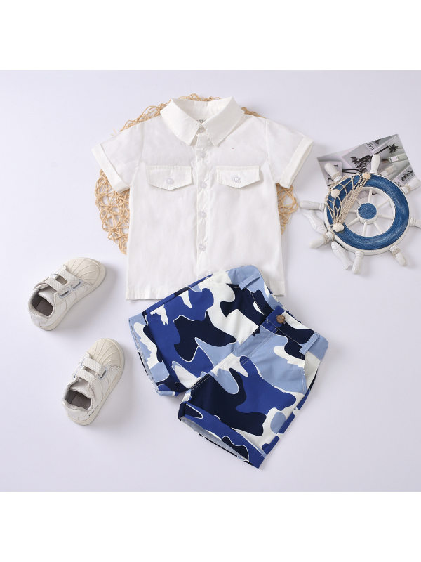 【18M-7Y】Boys Solid Color Short-sleeved Shirt Camouflage Shorts Two-piece Suit