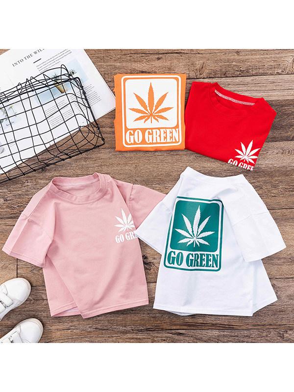 【18M-7Y】Boys Leaf Print Short Sleeve T-shirt