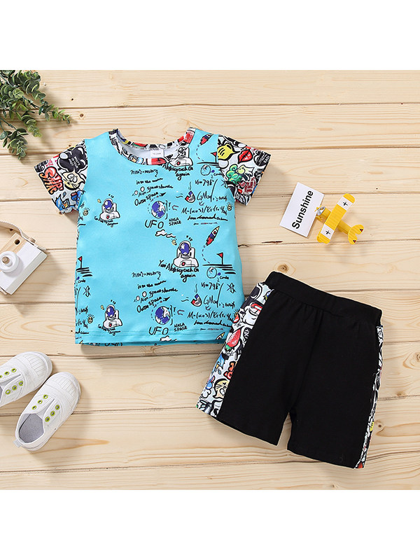 【12M-4Y】Boys Round Neck Short Sleeve Graffiti Cartoon Print T-shirt with Shorts Set