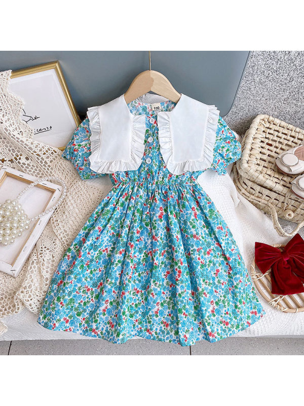 【2Y-9Y】Girls Fresh Sweet Floral Short-sleeved Large Lapel Dress