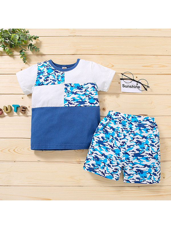 【12M-5Y】Boys Round Neck Short Sleeve Stitching Camouflage T-shirt Top with Shorts Suit