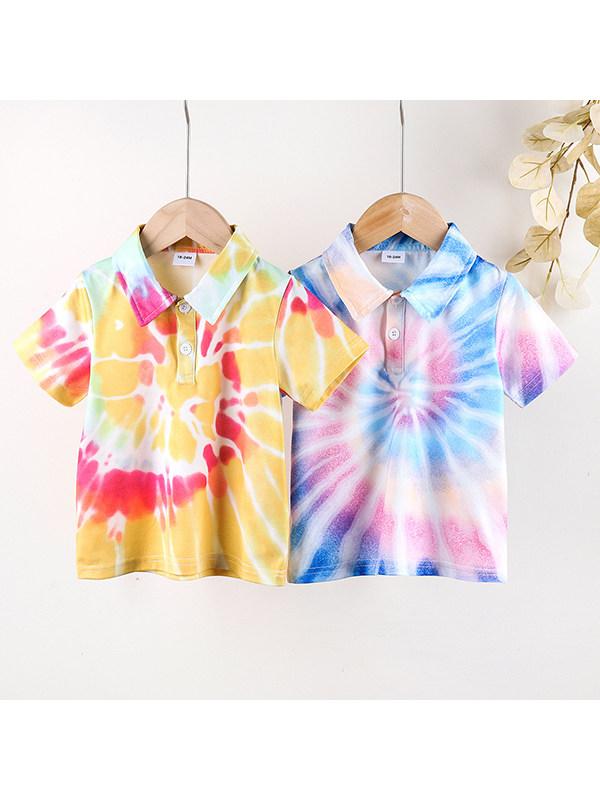 【18M-7Y】Boys Casual Tie-dye Lapel Short-sleeved T-shirt