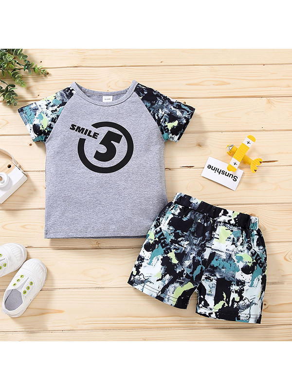【12M-4Y】Boys Round Neck Short Sleeve Printed T-shirt with Shorts Set