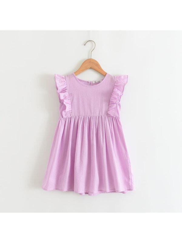 【2Y-9Y】Girls Sweet Cute Cotton Linen Sleeveless Ruffle Dress