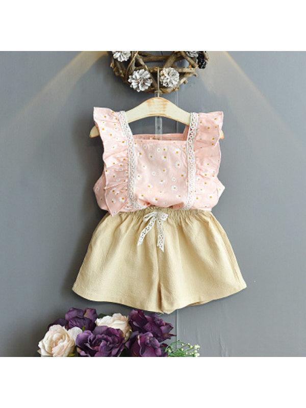 【18M-7Y】Girls Fresh Sweet Little Daisy Sleeveless Top Shorts Suit