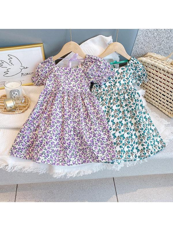【18M-7Y】Girls Fresh Sweet Puff Sleeve Floral Dress