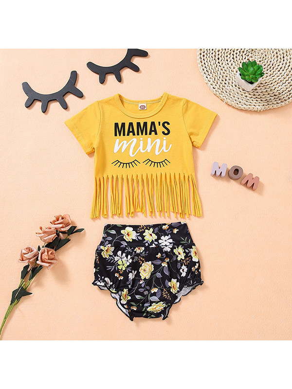 【12M-4Y】Girls Round Neck Short Sleeve Cartoon Print Top with Floral Bottems Suit