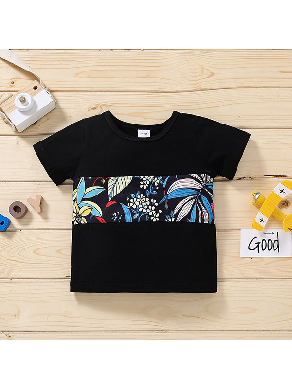 【12M-4Y】Boys Round Neck Short Sleeve Stitching Printed T-shirt