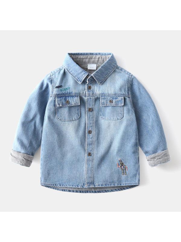 【18M-9Y】Boys Contrast Stitching Denim Jacket