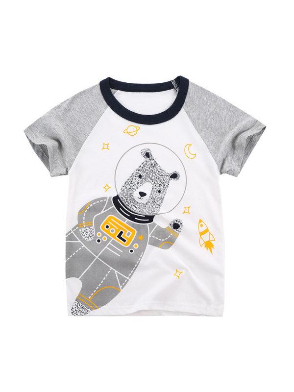 【18M-9Y】Boys Animal Print Short-sleeved T-shirt