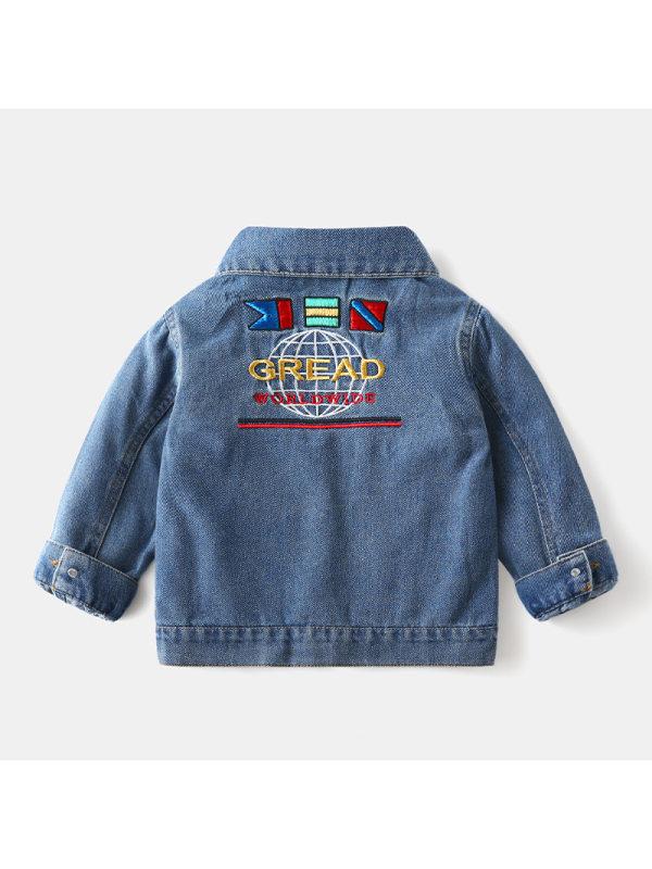 【18M-9Y】Boys' Letter Embroidered Denim Jacket