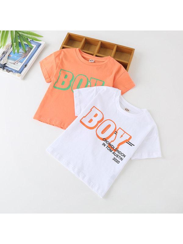 【18M-7Y】Boys Letter Print Short Sleeve T-shirt