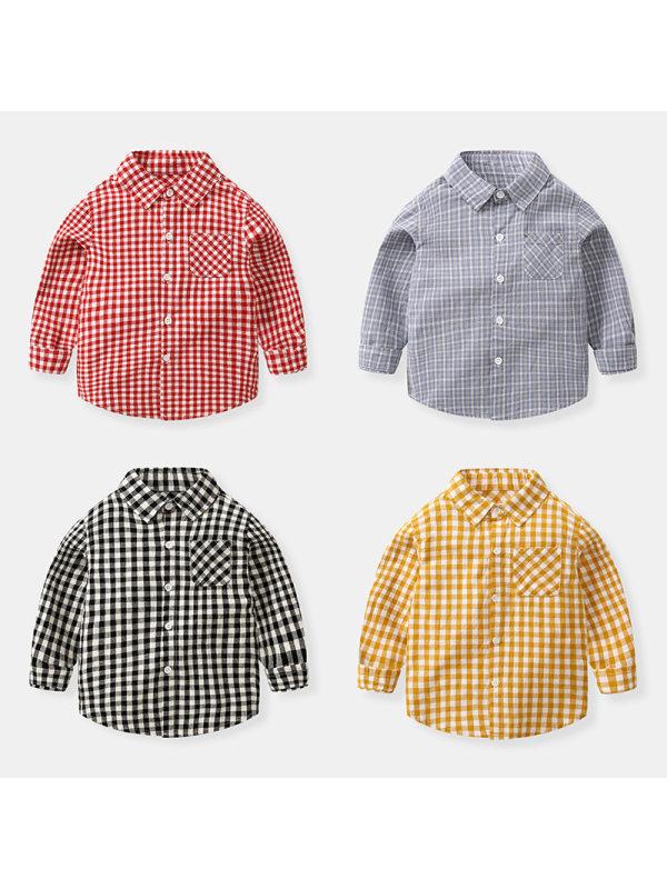 【18M-9Y】Boys' Fine Check Trendy Long-sleeved Shirt