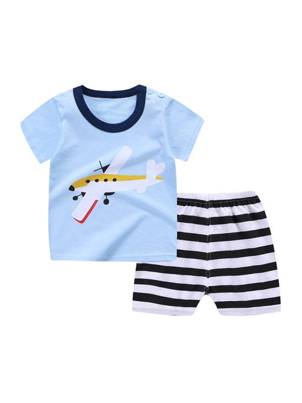 【12M-5Y】Boys Cartoon Print Short-sleeved T-shirt Shorts Two-piece Set