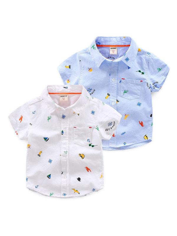【18M-7Y】Boys' Cartoon Print Short-sleeved Shirt