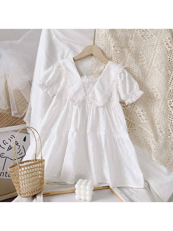 【18M-7Y】Girls Doll Collar Solid Color Embroidered Dress