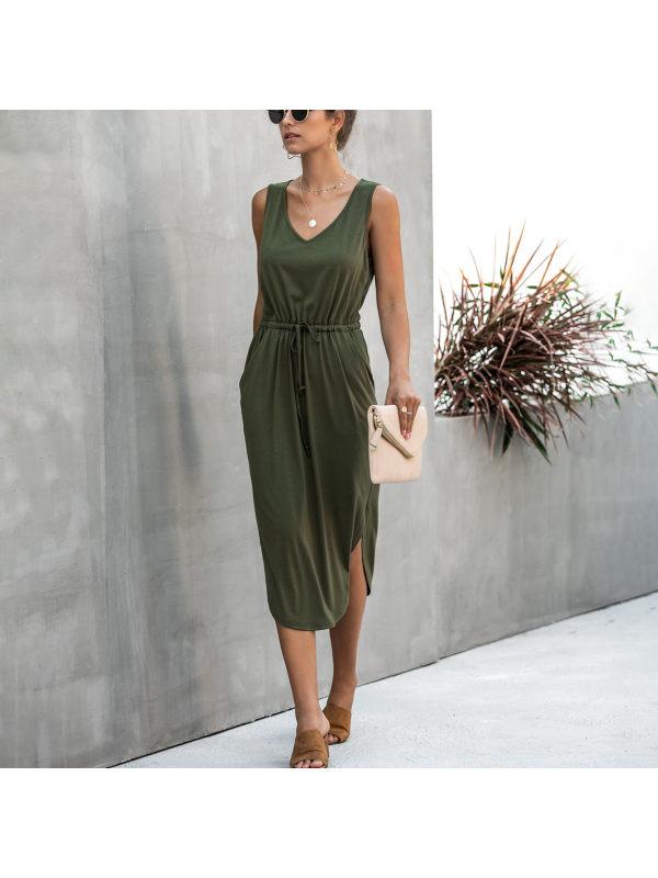 Fashionable casual solid color V-neck tethered vest dress
