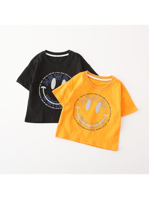 【18M-9Y】Boys Smiley Print Short-sleeved T-shirt
