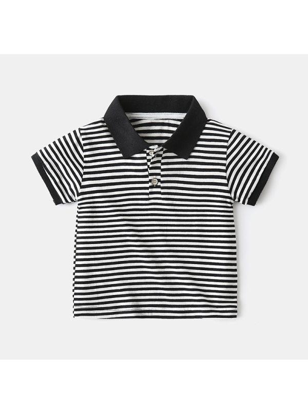 【18M-9Y】Boys Striped Short-sleeved Polo Shirt