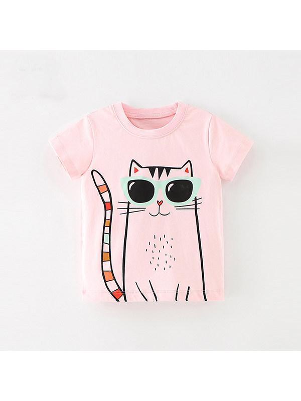 【18M-9Y】Girls Cartoon Print Short Sleeve T-shirt