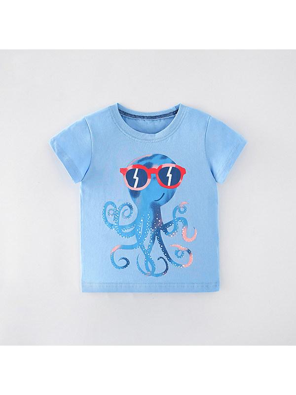 【90-140cm】Boys Cartoon Print Short Sleeve T-shirt