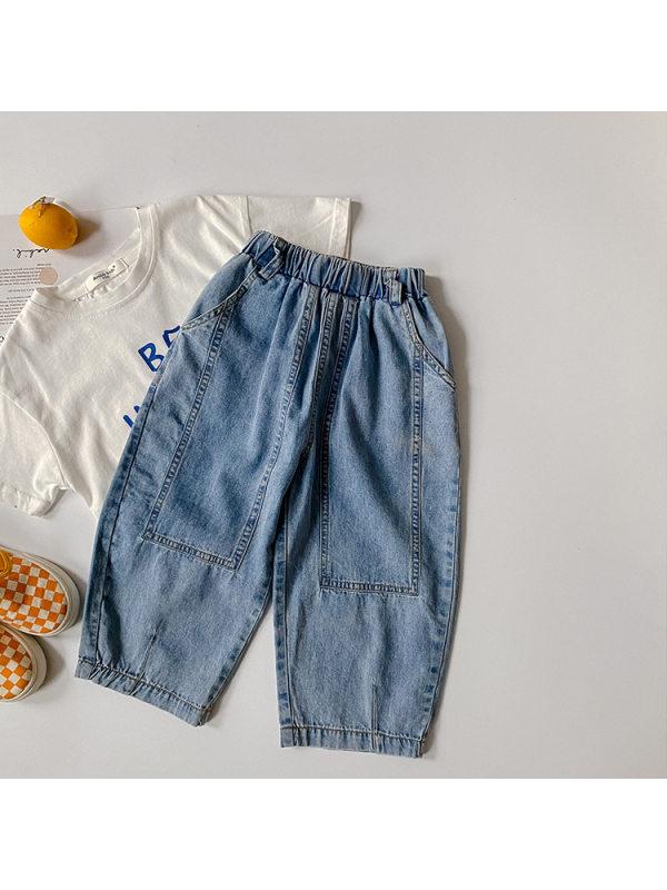 【12M-9Y】Boys Trendy Denim Cropped Trousers