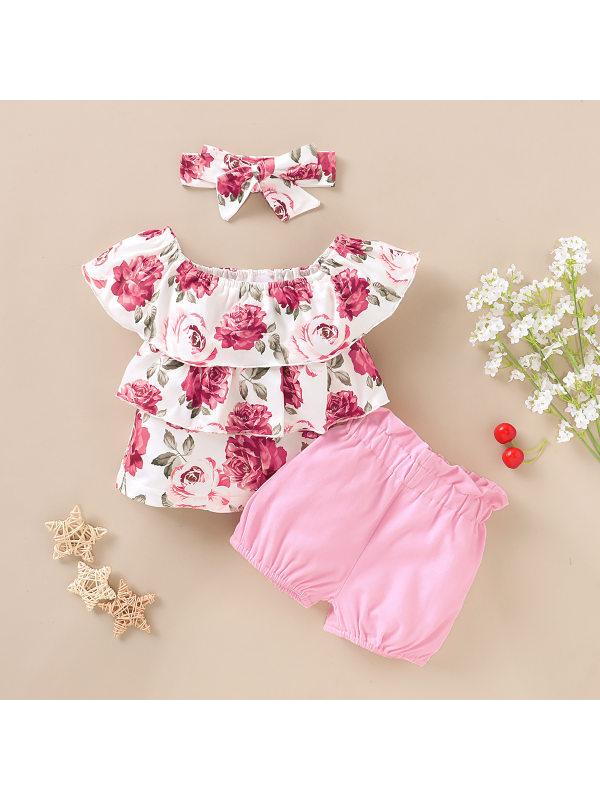 【12M-4Y】Girls One-shoulder Rose Flower Print Blouse Shorts Suit