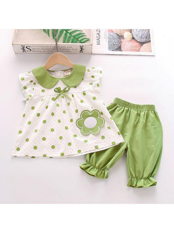 【12M-4Y】Girls Cute Flower Polka Dot Short-sleeved Top Shorts Set