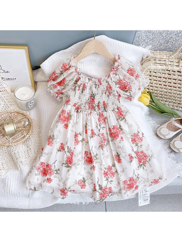 【2Y-9Y】Girls Fresh Sweet Flowers Crumpled Puff Sleeve Dress
