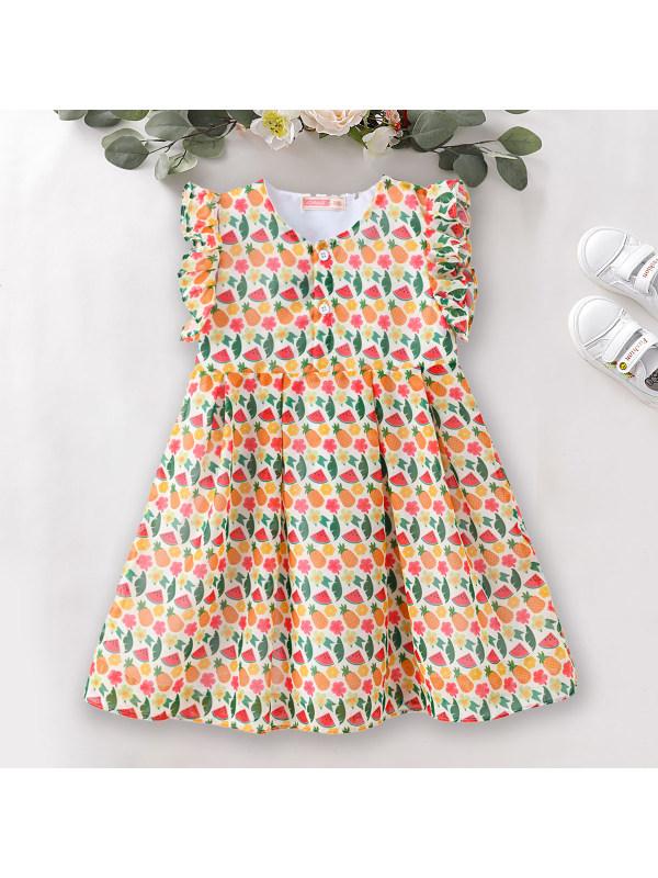 【18M-7Y】Sweet Print Round Neck Sleeveless Dress