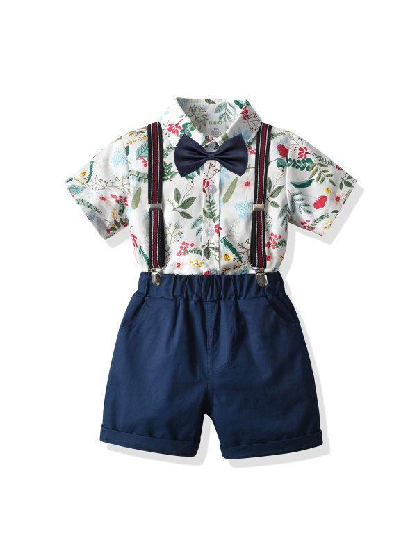 【12M-7Y】Boys Leaf Print Short-sleeved Shirt Suspender Shorts Two-piece Suit