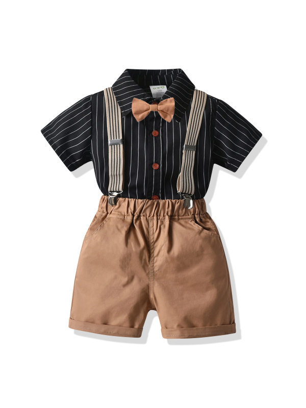 【18M-9Y】Boys Striped Short-sleeved Shirt And Shorts Two-piece Suit