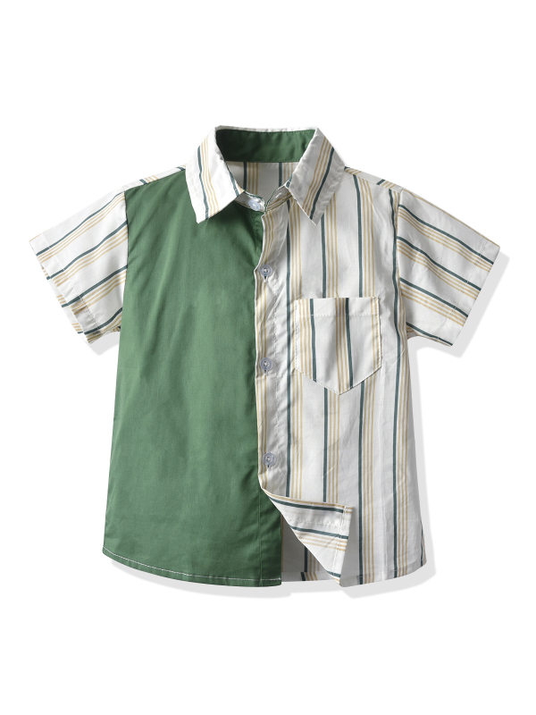 【12M-7Y】Boys Color Stiching Trend Short-sleeved Shirt