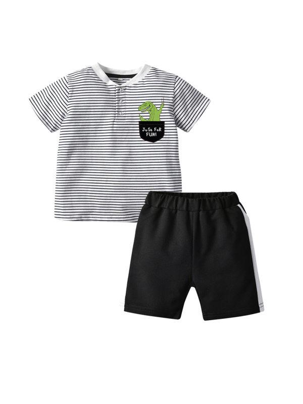 【12M-5Y】Boys Cartoon Print Striped T-shirt Contrast Shorts Two-piece Suit