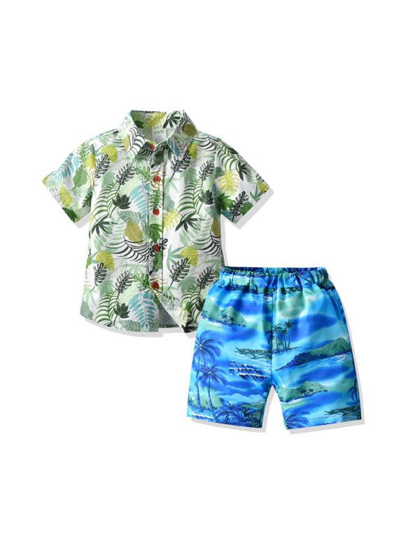 【12M-7Y】Boys Summer Coconut Tree Print Short-sleeved Beachwear Two-piece Suit