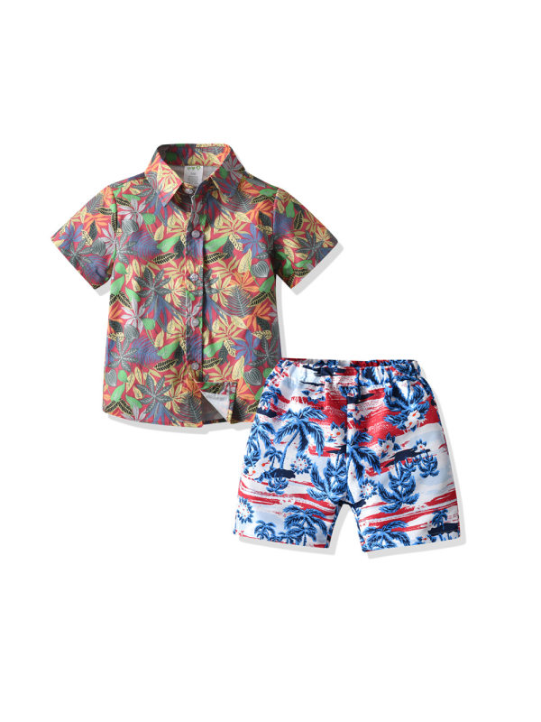 【12M-7Y】Boys Leaf Print Short-sleeved Shirt And Shorts Beachwear Two-piece Suit