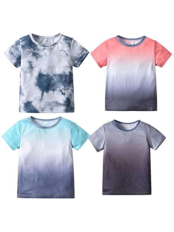 【18M-7Y】Boys' Tie-dye Trendy Short-sleeved T-shirt