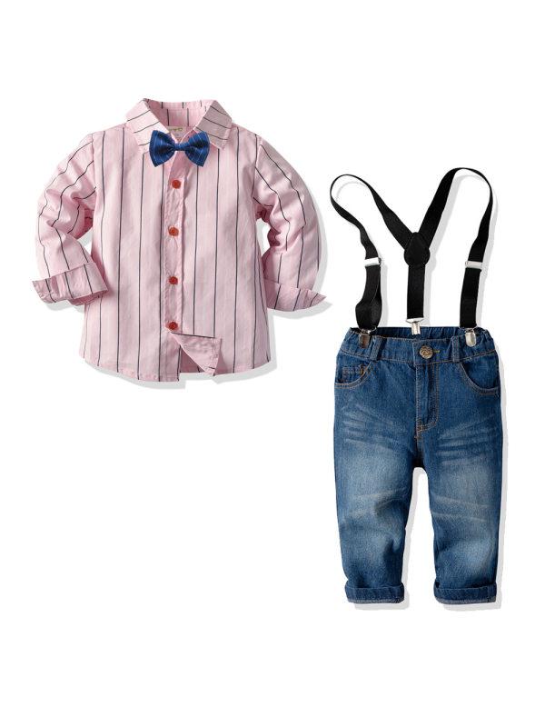 【18M-7Y】Boys Long-sleeved Striped Shirt Denim Bib Two-piece Suit