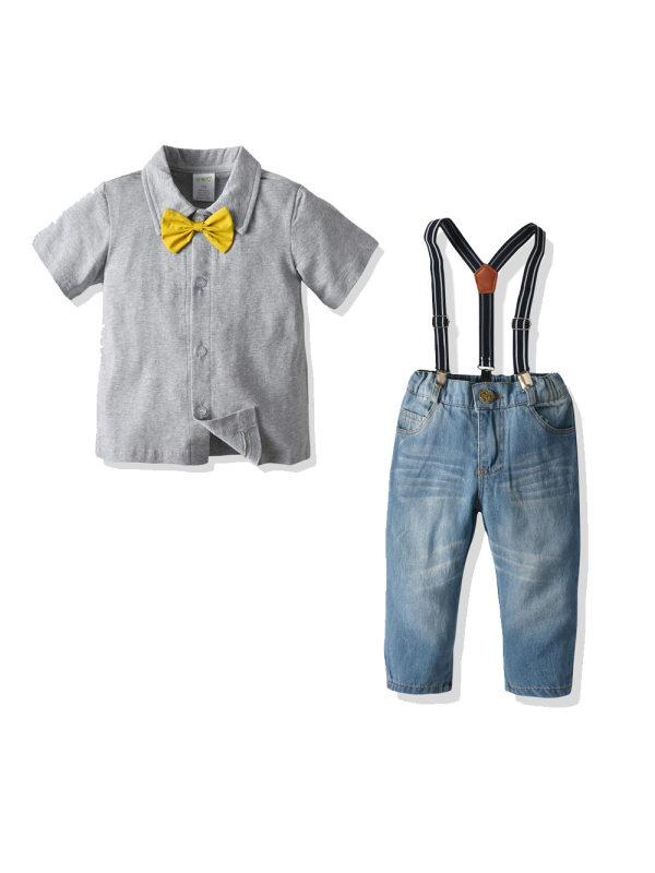 【18M-7Y】Boys Short-sleeved Polo Shirt Denim Bib Two-piece Suit