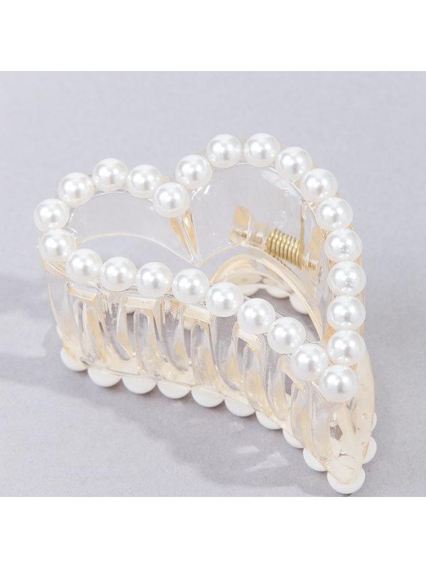 Acrylic hair accessories Irregular love pearl trim hairpin T